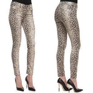 7FAM Skinny High Waist Leopard Print Pants